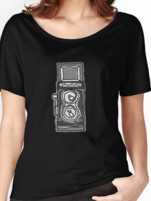 Bold, Black and White Camera Line Drawing Women's Relaxed Fit T-Shirt