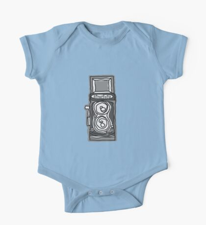 Bold, Black and White Camera Line Drawing One Piece - Short Sleeve