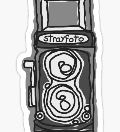 Bold, Black and White Camera Line Drawing Sticker