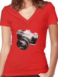Black and White 35mm SLR Design Women's Fitted V-Neck T-Shirt