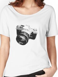 Black and White 35mm SLR Design Women's Relaxed Fit T-Shirt