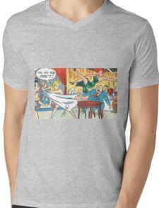 Ladies fighting in a restaurant vintage comic art Mens V-Neck T-Shirt
