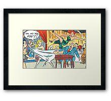 Ladies fighting in a restaurant vintage comic art Framed Print