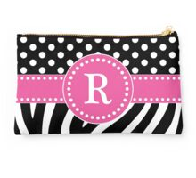 Black and White Zebra Stripes and Polka Dots R Monogram Studio Pouch