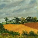 Cornfield Under Brooding Sky by Les Sharpe