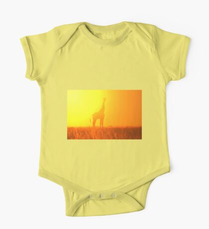 Giraffe Silhouette - Golden Colors in Nature One Piece - Short Sleeve