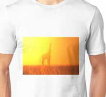 Giraffe Silhouette - Golden Colors in Nature Unisex T-Shirt