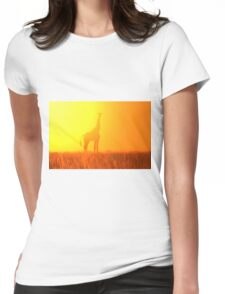 Giraffe Silhouette - Golden Colors in Nature Womens Fitted T-Shirt