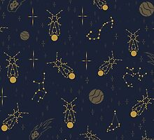 Golden Fireflies Constellations by Daniel Bevis