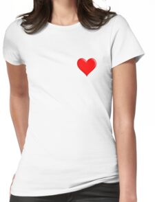 Heart, Beating, Romance, Love, Red, Love Heart, Pure & Simple, on WHITE Womens Fitted T-Shirt