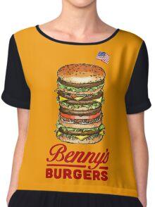 Original Benny's Burgers Stranger Things Eleven Cosplay Shirt Chiffon Top