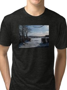 WINTER SCENE IN RURAL DEVON ENGLAND UK Tri-blend T-Shirt
