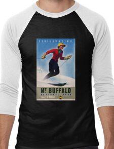 Australia Mt. Buffalo Vintage Travel Poster Men's Baseball ¾ T-Shirt