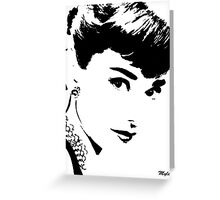 Audrey Simply Beautiful in Black and White Greeting Card