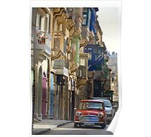 Motoring Along Past the Candy-Colored Doorways of Valletta, Malta Poster
