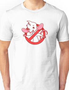 Cute white mouse inside red prohibitory sign. Unisex T-Shirt