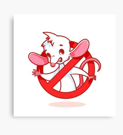 Cute white mouse inside red prohibitory sign. Canvas Print