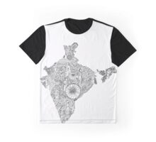 India: Black and White: Zen Doodle Graphic T-Shirt