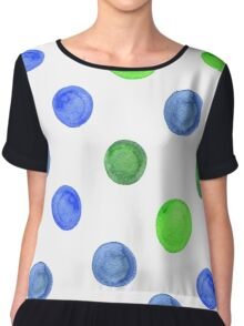 watercolor background with blue and green circles. Chiffon Top
