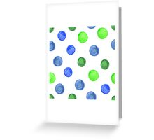 watercolor background with blue and green circles. Greeting Card