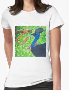 Edgar Taipan meets Cassowary Womens Fitted T-Shirt