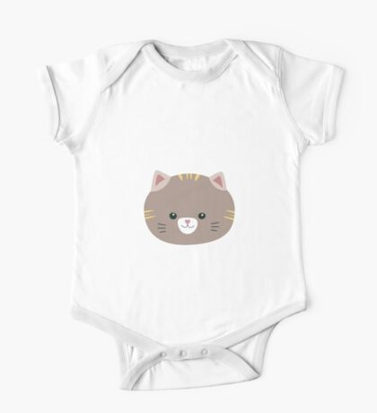 Brown Cat with yellow stripes One Piece - Short Sleeve