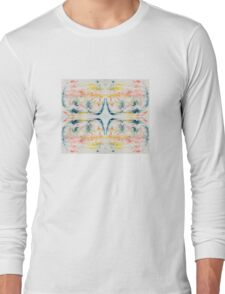 Vibrant ink feather pattern marbled design Long Sleeve T-Shirt