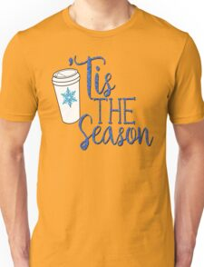 Snowflake Salted Caramel Latte Coffee SCL #SCL Faux Blue Glitter Tis The Season Winter Christmas Holiday Seasonal Coffee Lovers Gift Unisex T-Shirt