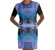Eye catching abstract ink pattern design in purple blue and copper color Graphic T-Shirt Dress