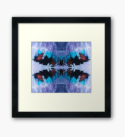 Eye catching abstract ink pattern design in purple blue and copper color Framed Print