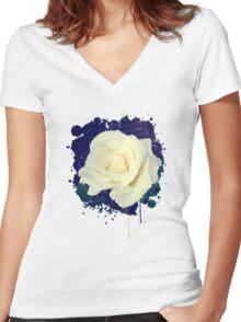 Secret Garden | Pure White Women's Fitted V-Neck T-Shirt