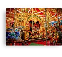 Commander Baldocks Galloping Horses and Racing Cockerels Carousel  Canvas Print