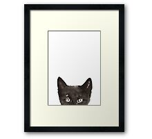 Peeking Cat Animals Painting Cat Poster Drawing llustration Framed Print