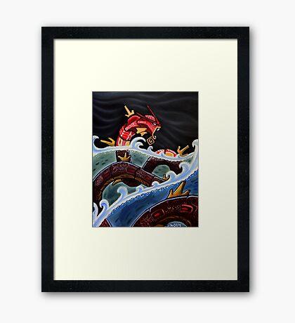 THE RED GYARADOS Framed Print