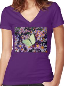 Cabbage butterfly Women's Fitted V-Neck T-Shirt