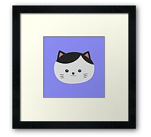 Cat with white fur and black hair Framed Print