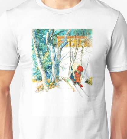Woman Puts on Her Skis  Unisex T-Shirt
