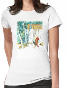 Woman Puts on Her Skis  Womens Fitted T-Shirt