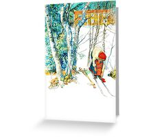 Woman Puts on Her Skis  Greeting Card
