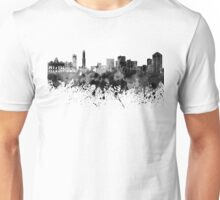 Genoa skyline in black watercolor Unisex T-Shirt