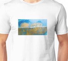 Eye catching vibrant Golden Blue Abstract ink design top bottom split Unisex T-Shirt