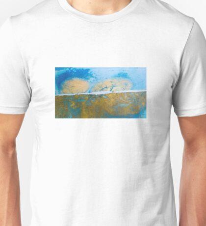 Eye catching vibrant Golden Blue Abstract ink design top bottom split Unisex T-Shirt