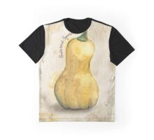 Butternut Squash Watercolor Painting on Rustic Brown Background-Giclee Print of Hand Painted Origin Graphic T-Shirt