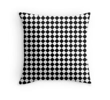 Classic Black and White Large Diamond Check Board Pattern Throw Pillow