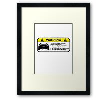 Toyota 86 Warning Drift Framed Print