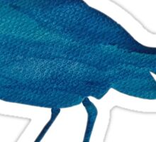 Blue Aqua Bird on White Sticker