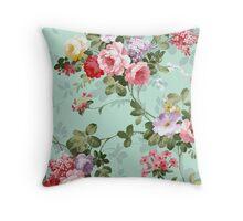 Vintage flower garden texture  Throw Pillow