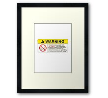 VTEC Warning Sticker, T-shirt, Phone Case Framed Print