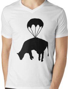 Airborne cow Mens V-Neck T-Shirt