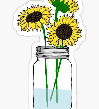 sunflowers in a jar Sticker